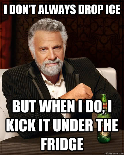 I don't always drop ice but when I do, i kick it under the fridge - I don't always drop ice but when I do, i kick it under the fridge  Misc