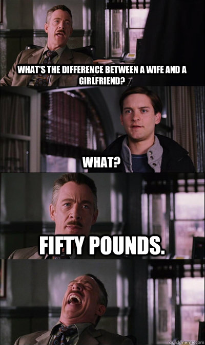 What's the difference between a wife and a girlfriend? what? fifty pounds.   JJ Jameson