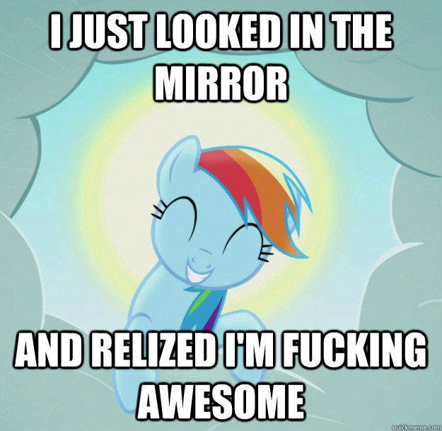 I just looked in the mirror and relized I'm fucking awesome  Good Pony Rainbow Dash