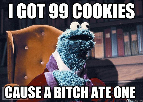 i got 99 cookies cause a bitch ate one  Cookie Monster