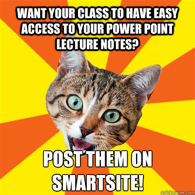 Want your class to have easy access to your power point lecture notes? Post them on Smartsite!  Bad Advice Cat