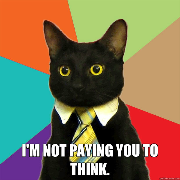 I'm not paying you to think. -  I'm not paying you to think.  Business Cat