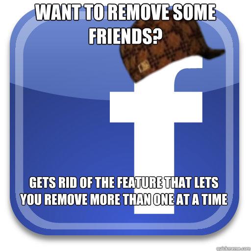 Want to remove some friends? gets rid of the feature that lets you remove more than one at a time - Want to remove some friends? gets rid of the feature that lets you remove more than one at a time  Scumbag Facebook