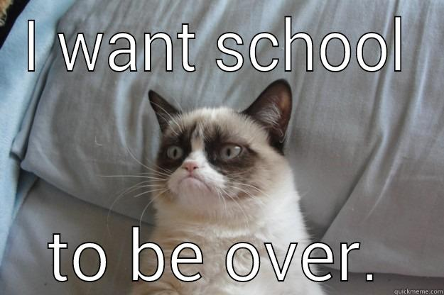 I WANT SCHOOL TO BE OVER. Grumpy Cat