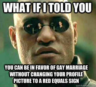 what if i told you you can be in favor of gay marriage without changing your profile picture to a red equals sign - what if i told you you can be in favor of gay marriage without changing your profile picture to a red equals sign  Matrix Morpheus
