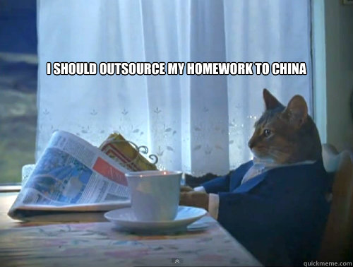 I should outsource my homework to China  -   I should outsource my homework to China   The One Percent Cat