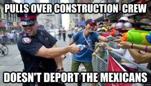 pulls over construction  crew doesn't deport the mexicans - pulls over construction  crew doesn't deport the mexicans  Good Guy Cop