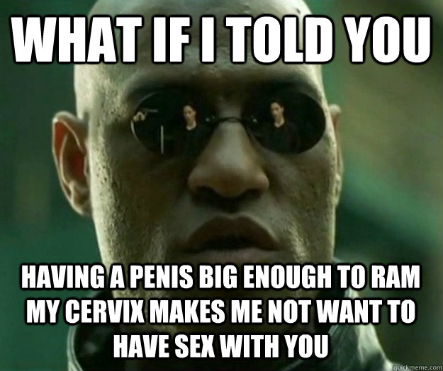 WHAT IF I TOLD YOU Having a penis big enough to ram my cervix makes me not want to have sex with you - WHAT IF I TOLD YOU Having a penis big enough to ram my cervix makes me not want to have sex with you  Hi- Res Matrix Morpheus