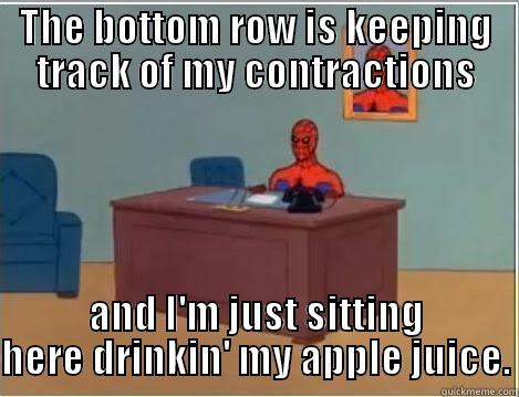 Spiderman Courtney - THE BOTTOM ROW IS KEEPING TRACK OF MY CONTRACTIONS AND I'M JUST SITTING HERE DRINKIN' MY APPLE JUICE. Spiderman Desk