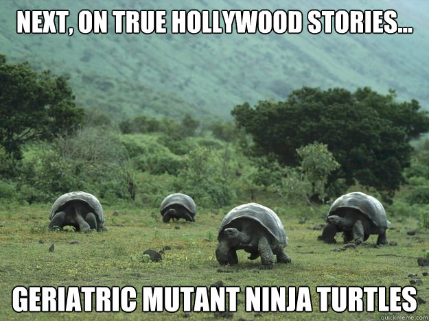 Next, on True Hollywood Stories... geriatric mutant ninja turtles