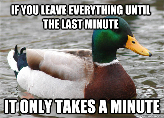 If you leave everything until the last minute It only takes a minute - If you leave everything until the last minute It only takes a minute  Actual Advice Mallard