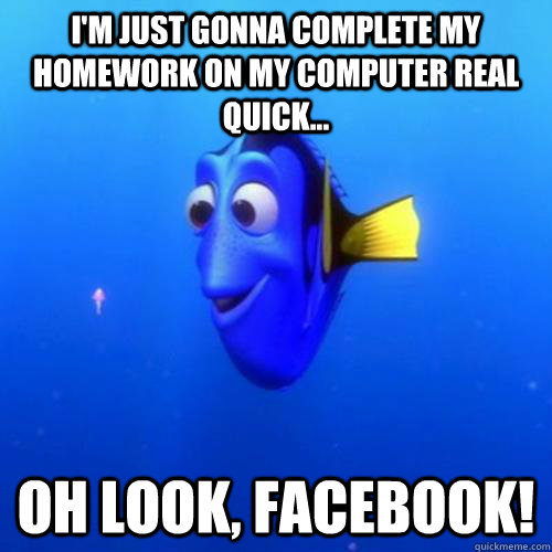 I'm just gonna complete my homework on my computer real quick... Oh look, facebook! - I'm just gonna complete my homework on my computer real quick... Oh look, facebook!  dory