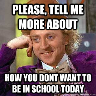 PLease, tell me more about how you dont want to be in school today - PLease, tell me more about how you dont want to be in school today  Condescending Wonka