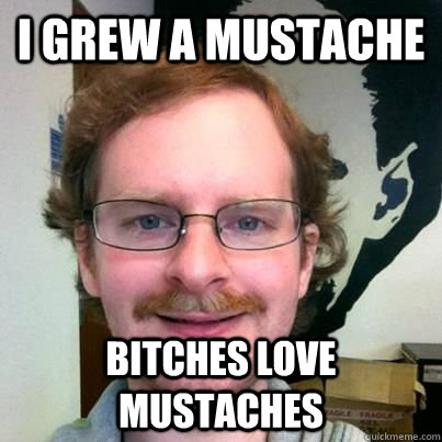 I GREW A MUSTACHE BITCHES LOVE MUSTACHES