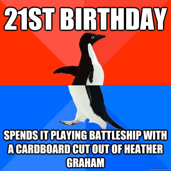 21st Birthday  spends it playing battleship with a cardboard cut out of Heather Graham - 21st Birthday  spends it playing battleship with a cardboard cut out of Heather Graham  Socially Awesome Awkward Penguin