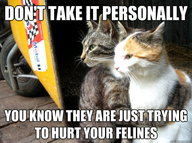 Don't take it personally You know they are just trying to hurt your felines
