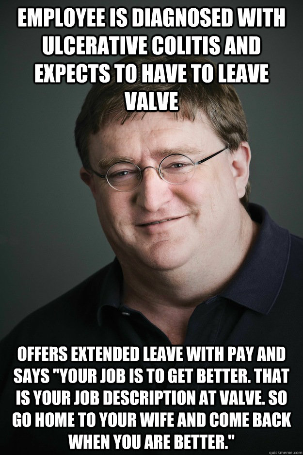 Employee is diagnosed with ulcerative colitis and expects to have to leave valve Offers extended leave with pay and says
