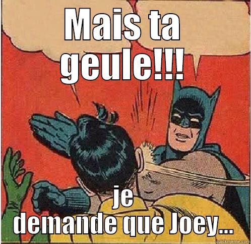 MAIS TA GEULE!!! JE DEMANDE QUE JOEY... Batman Slapping Robin