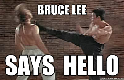 BRUCE LEE SAYS  hello