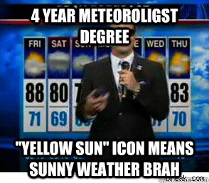 4 year Meteoroligst degree ''Yellow sun'' icon means sunny weather brah