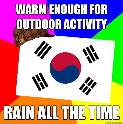 warm enough for outdoor activity rain all the time