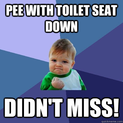 pee with toilet seat down Didn't miss! - pee with toilet seat down Didn't miss!  Success Kid