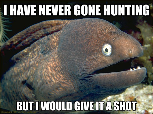 I have never gone hunting but i would give it a shot - I have never gone hunting but i would give it a shot  Bad Joke Eel