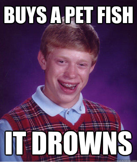 buys a pet fish it drowns  - buys a pet fish it drowns   Bad Luck Brian