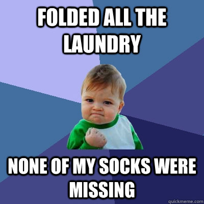 Folded all the laundry None of my socks were missing  - Folded all the laundry None of my socks were missing   Success Kid