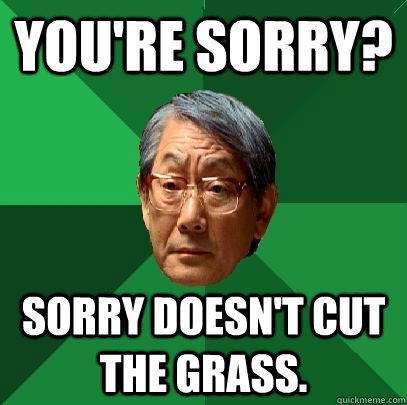 You're sorry? Sorry doesn't cut the grass. - You're sorry? Sorry doesn't cut the grass.  High Expectations Asian Father