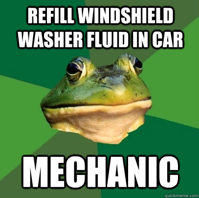 Refill windshield washer fluid in car Mechanic - Refill windshield washer fluid in car Mechanic  Foul Bachelor Frog