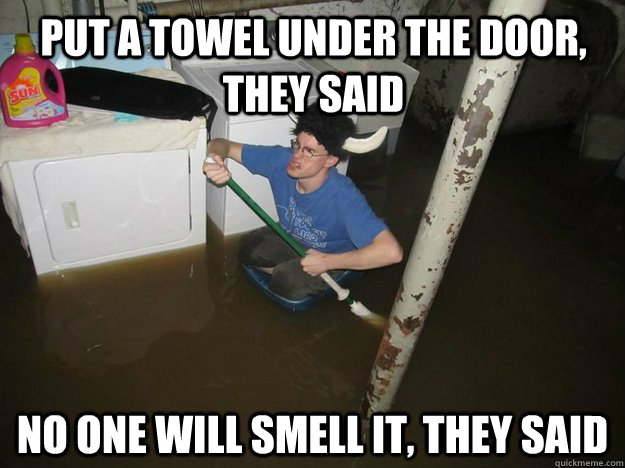Put a towel under the door, they said No one will smell it, they said