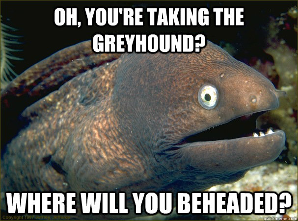 Oh, you're taking the Greyhound? Where will you beheaded? - Oh, you're taking the Greyhound? Where will you beheaded?  Bad Joke Eel