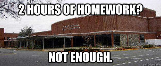 2 hours of homework? Not enough.  Scumbag BCA
