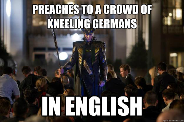 preaches to a crowd of  kneeling germans in english