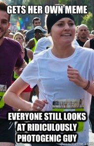 GETS HER OWN MEME EVERYONE STILL LOOKS AT RIDICULOUSLY PHOTOGENIC GUY