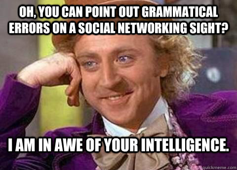 Oh, you can point out grammatical errors on a social networking sight? i am in awe of your intelligence.