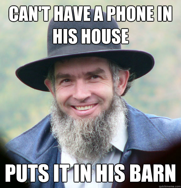 Can't have a phone in his house puts it in his barn - Can't have a phone in his house puts it in his barn  Good Guy Amish