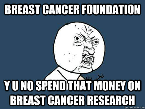 breast cancer foundation y u no spend that money on breast cancer research   Y U No