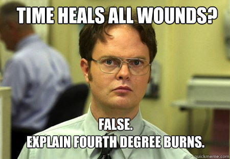 Time Heals all wounds? FALSE.   Explain Fourth degree burns. - Time Heals all wounds? FALSE.   Explain Fourth degree burns.  Schrute
