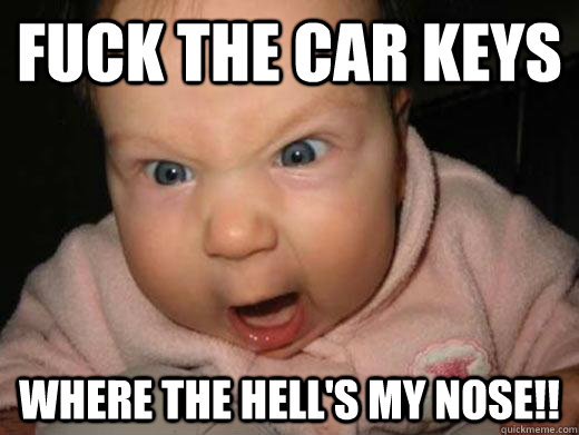 FUCK THE CAR KEYS WHERE THE HELL'S MY NOSE!!