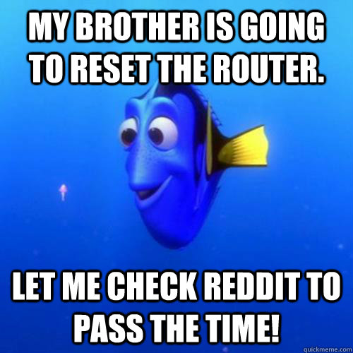My brother is going to reset the router. Let me check reddit to pass the time! - My brother is going to reset the router. Let me check reddit to pass the time!  dory