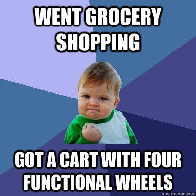 Went grocery shopping got a cart with four functional wheels - Went grocery shopping got a cart with four functional wheels  Success Kid