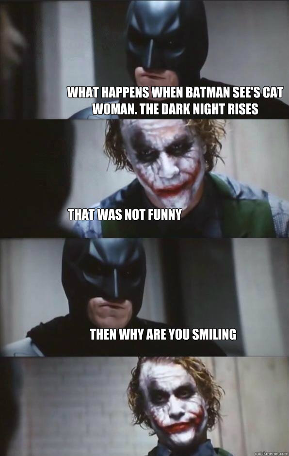 what happens when batman see's cat woman. the dark night rises that was not funny Then why are you smiling  - what happens when batman see's cat woman. the dark night rises that was not funny Then why are you smiling   Batman Panel
