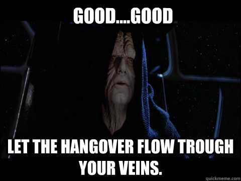 Good....Good Let the hangover flow trough your veins.