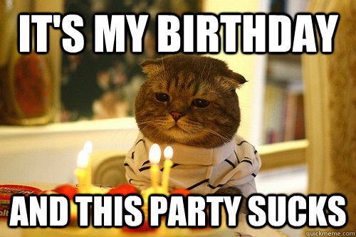 It's My Birthday and This party sucks - It's My Birthday and This party sucks  Dissapointed Birthday Cat
