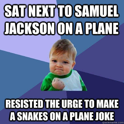 Sat next to samuel jackson on a plane resisted the urge to make a snakes on a plane joke - Sat next to samuel jackson on a plane resisted the urge to make a snakes on a plane joke  Success Kid