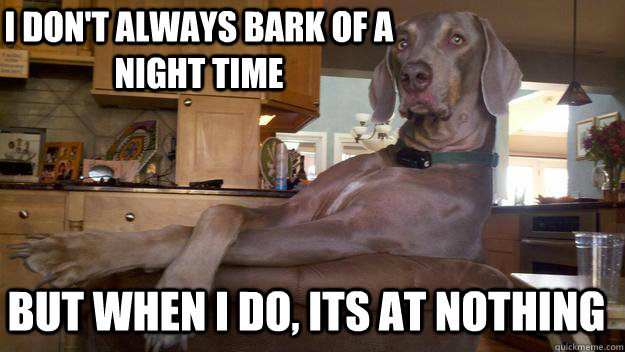 I don't always bark of a night time But when I do, Its at nothing