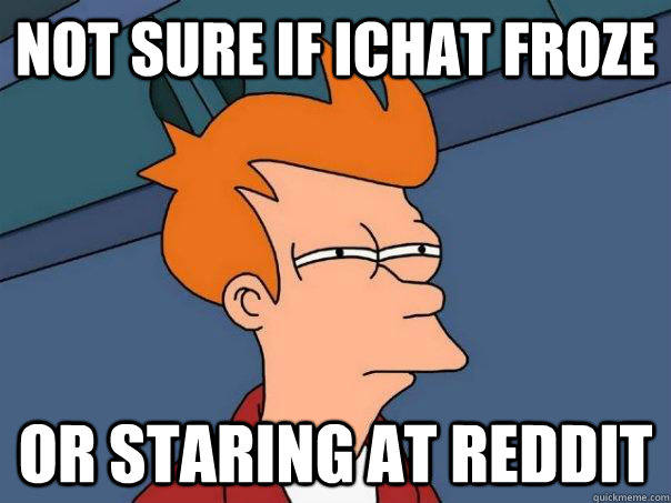 Not sure if ichat froze or staring at reddit - Not sure if ichat froze or staring at reddit  Futurama Fry