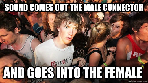 sound comes out the male connector and goes into the female - sound comes out the male connector and goes into the female  Sudden Clarity Clarence